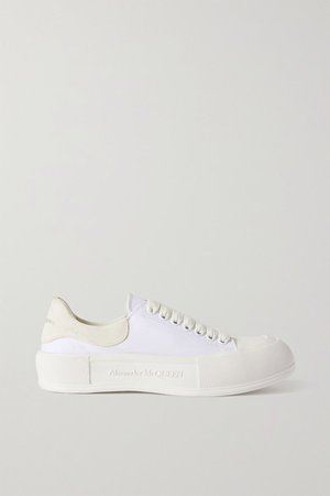 Suede-trimmed Canvas Exaggerated-sole Sneakers - White