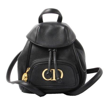 Dior Rare Christian Vintage Gold Black Calf Leather Backpack - Tradesy