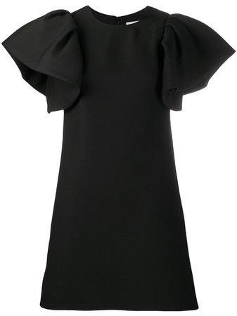 Ruffled Sleeves Black Mini Dress