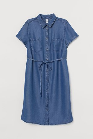 MAMA Lyocell Denim Dress - Blue