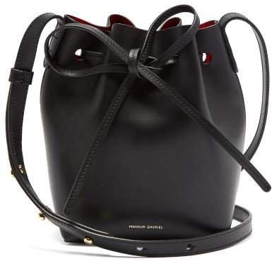 Red Lined Mini Mini Leather Bucket Bag - Womens - Black Multi