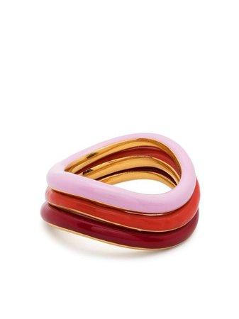 Charlotte Chesnais Tricolour Wave Ring Set - Farfetch