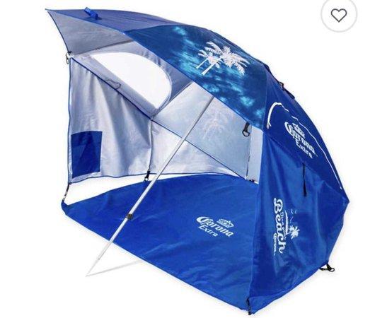 """Corona """"Always Summer"""" Beach Cabana Umbrella in Blue $39.99"""