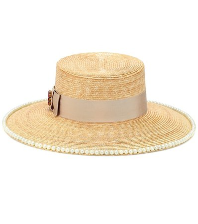 Embellished straw hat