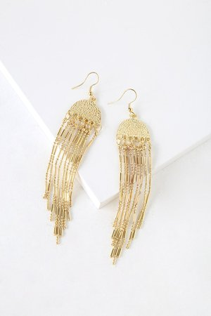 Boho Gold Earrings - Fringe Earrings - Beaded Earrings - Earrings