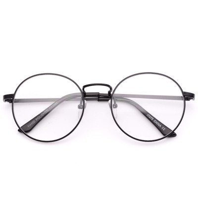 Blaine round metal clear lens glasses