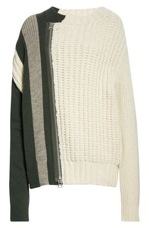 Sacai Mixed Stitch Wool Sweater | Nordstrom