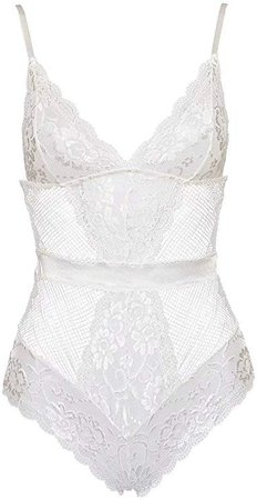 Garmol Women Sexy Lingerie One Piece Fishnet Teddy Lace Cups Bodysuit Mesh Babydoll (Small, White) at Amazon Women's Clothing store