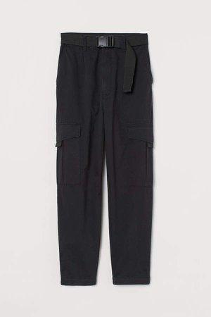 Belted Cargo Pants - Black