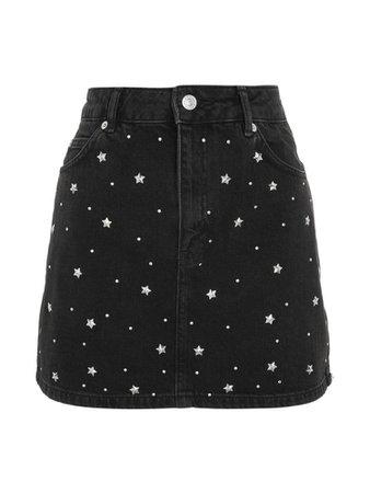Black jean star skirt