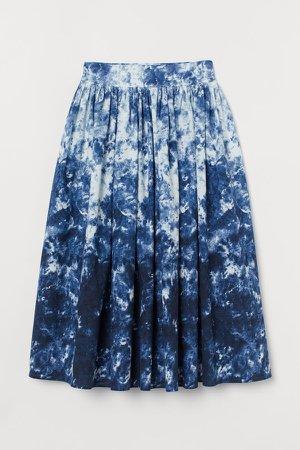 Flared Cotton Skirt - Blue