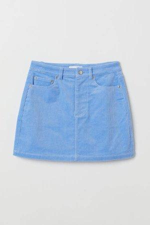 Short Corduroy Skirt - Blue