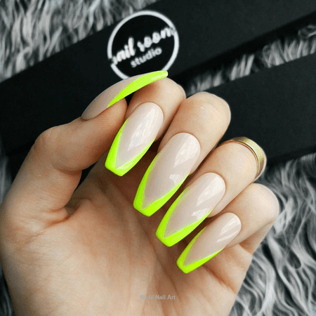 neon green nails tips - Google Search