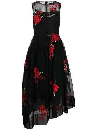 Shop black Simone Rocha rose-embroidered tulle-layer dress with Express Delivery - Farfetch