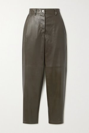 Leather Tapered Pants - Army green
