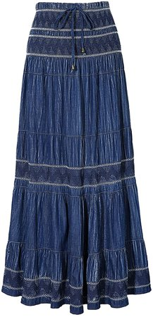 Amazon.com: DREFBUFY Maxi Skirt Womens High Waist Pleated Tiered Long Skirts, Denim Look with Elastic Waistband, Casual Style Midi Dress for Women, Multi Wearing Styles (Blue15, Large): Clothing