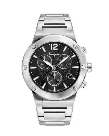 Salvatore Ferragamo Men's 44mm F-80 Bracelet Watch, Black | Neiman Marcus