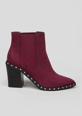 Studded Heeled Chelsea Boots – Burgundy – Matalan
