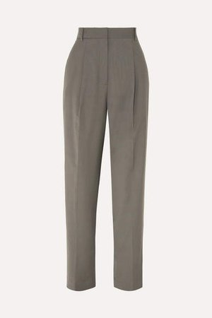Pleated Crepe Tapered Pants - Dark gray