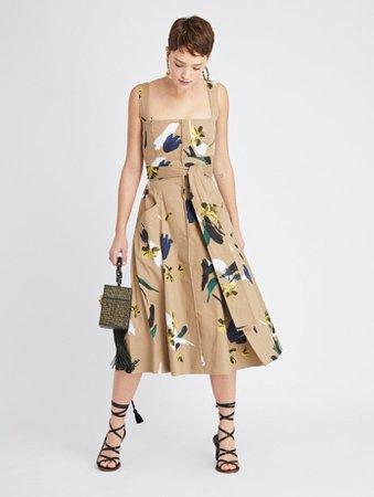 Painted Floral Cotton-Twill Dress - Dresses - Oscar de la Renta