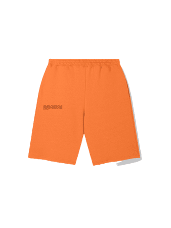 Lightweight recycled cotton long shorts—persimmon orange