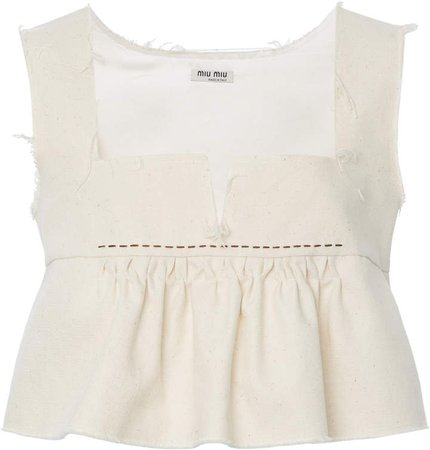 Ruffled Cotton Cropped Top