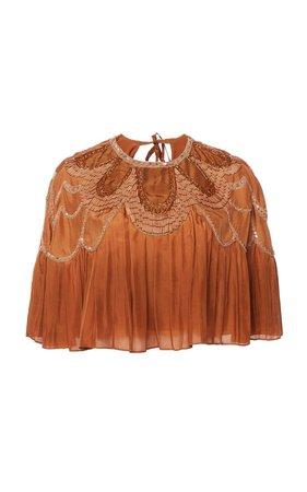 Silk Habotay Crop Top With Embellished Neckline by Alberta Ferretti   Moda Operandi