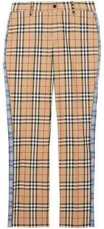 Straight Fit Contrast Check Cotton Trousers