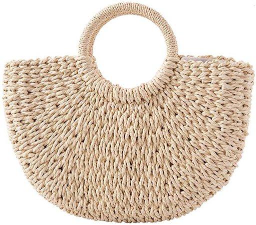 Straw Handbag for Women Handmade Straw Tote Bag Handle SummerBag, Women Individual Straw Oval Bag for Travel, Daily Use: Handbags: Amazon.com