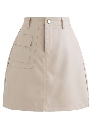 Pocket Faux Leather Texture Skirt in Black - Retro, Indie and Unique Fashion