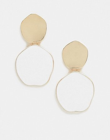 Accessorize Exclusive disc earrings with white drop and gold stud | ASOS