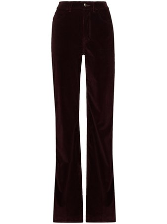 Shop red Etro corduroy flared trousers with Express Delivery - Farfetch