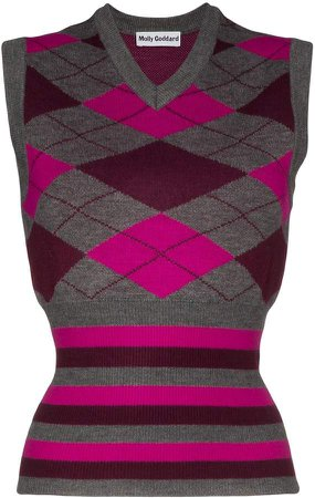 Greta sleeveless argyle knit vest
