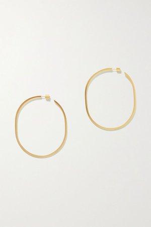 Gold Oval Thread gold-plated hoop earrings | Jennifer Fisher | NET-A-PORTER