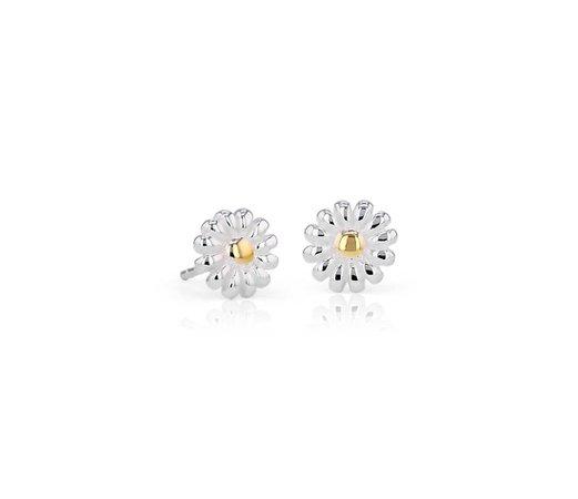 Daisy Stud Earrings in Sterling Silver | Blue Nile