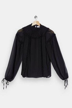 Black Ruffle Yoke Neck Blouse | Topshop