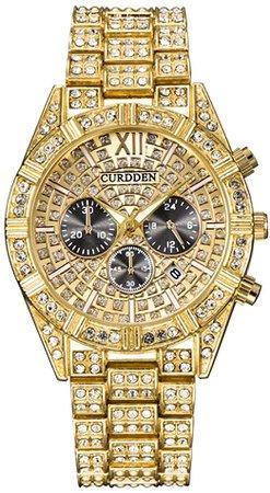 Amazon.com: Siviki Man Diamond Inlaid Quartz Watches Steel Wristwatch Luxury Fashion Classic Designer Luxury Brand Golden: Clothing