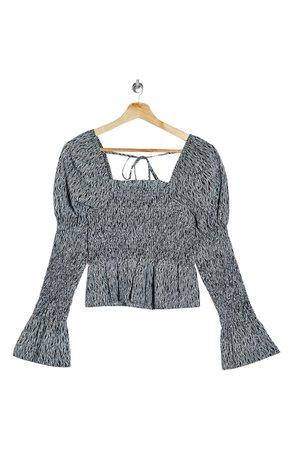 Topshop Animal Print Shirred Blouse grey