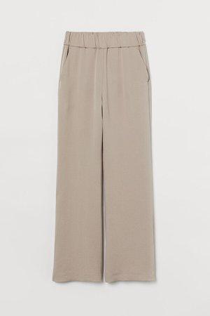 Wide-cut Lyocell-blend Pants - Brown