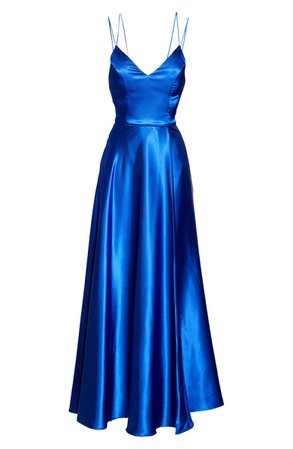 Sequin Hearts Dual Strap Satin Ballgown | Nordstrom