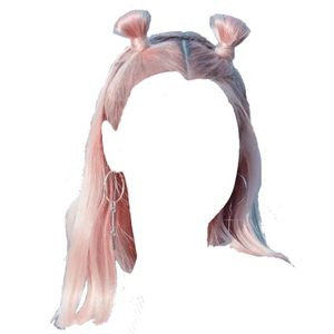 SHORT PINK HAIR PNG TWIN SPACE BUNS