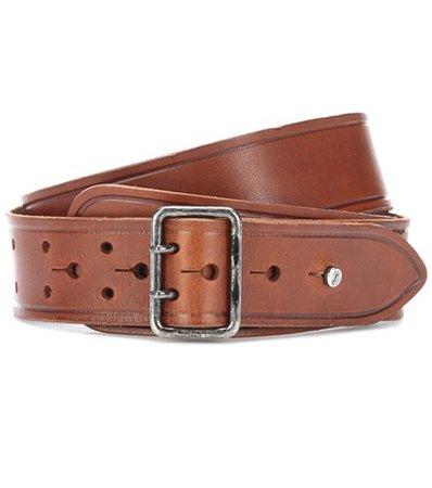 Leather press-stud belt