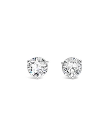NM Diamond Collection 18k White Gold Diamond Martini Stud Earrings, 3.0tcw | Neiman Marcus