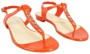Chanel Orange Red Leather Ankle Thong Cc Logo T Strap Beach Sandals Size EU 37 (Approx. US 7) Wide (C, D) - Tradesy