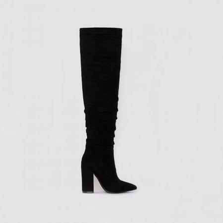 Eden Black Suede Ruched Block Heel Thigh High Boots