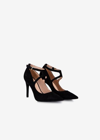Court shoes with crossover front, ankle strap closure and stiletto heel 'Lola'