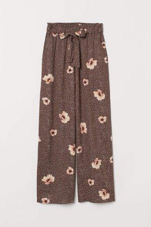 Wide-cut Paper-bag Pants - Brown
