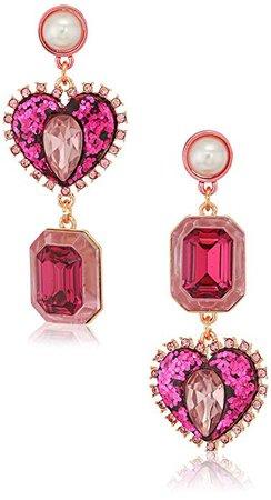 Amazon.com: Betsey Johnson Women's Pink Heart Mismatch Drop Earrings: Clothing