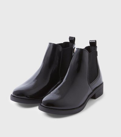 Black Patent Flat Chelsea Boots   New Look
