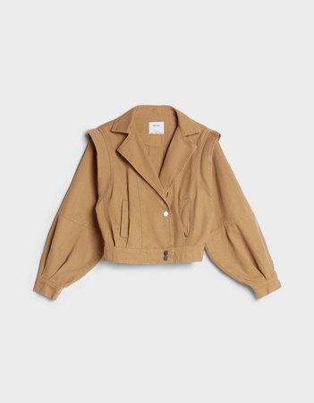 Biker jacket with full sleeves - New - Bershka United States